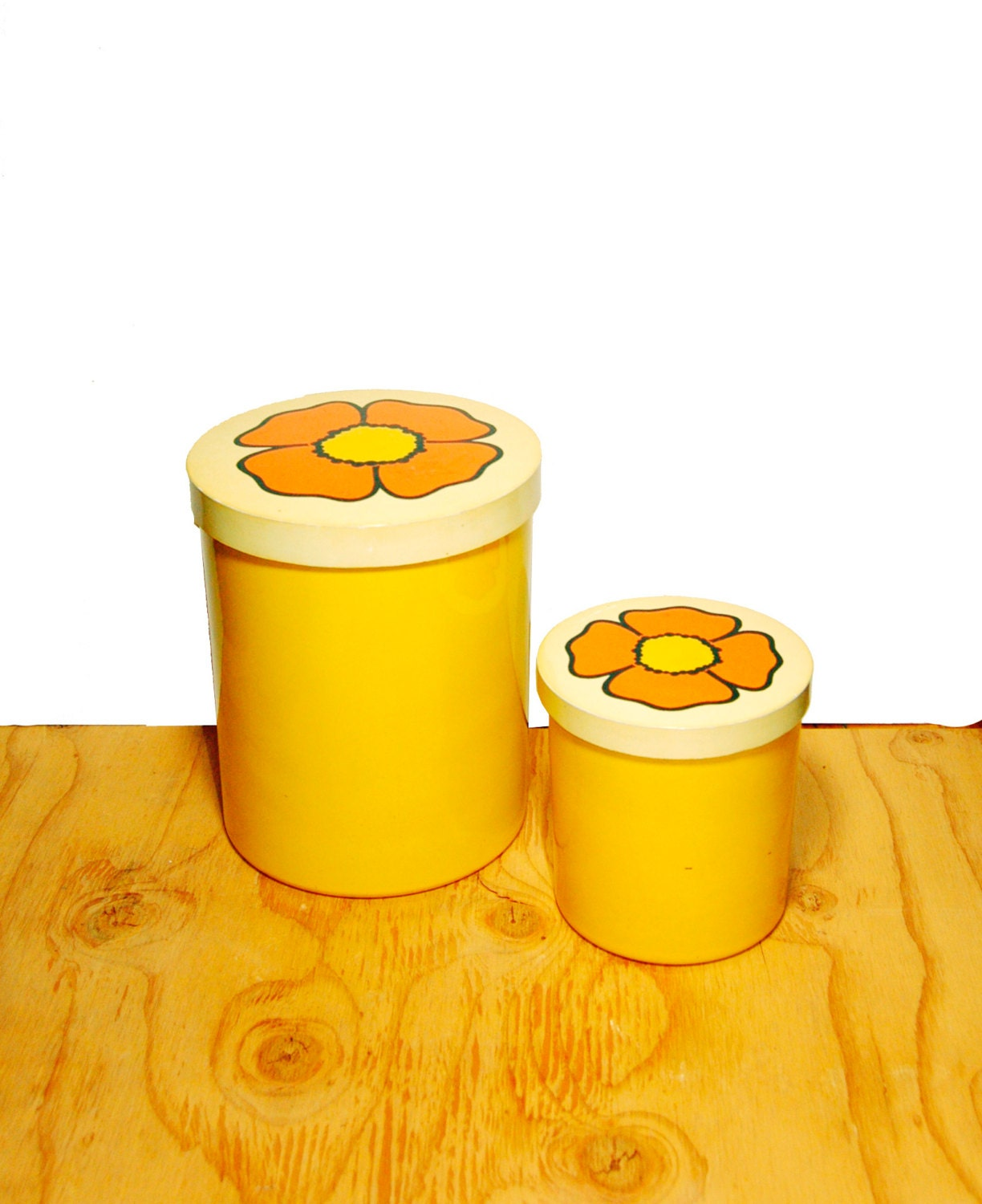 retro floral canister set of two yellow orange by