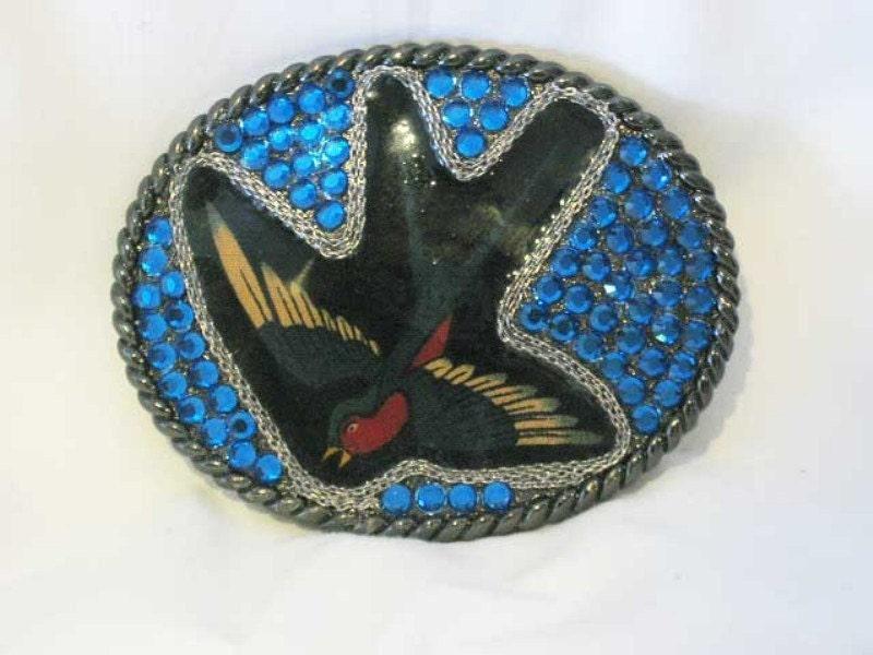 Swallow Bird Tattoo Flash Belt Buckle With Swarovski Cystals
