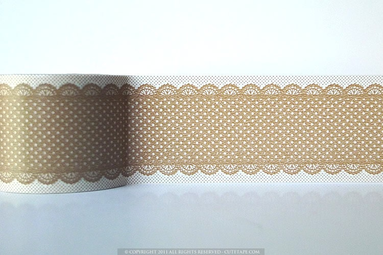 Natural Brown Deco Tape Lace Dots Japanese Tape - 38mm