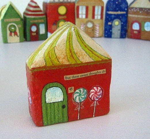 Paper Mache - Chubby Little House Number 45 - But these sweet thoughts do - Papier Mache