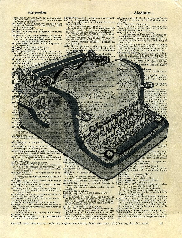 Vintage Typewriter Print from Pencil/Ink Drawing