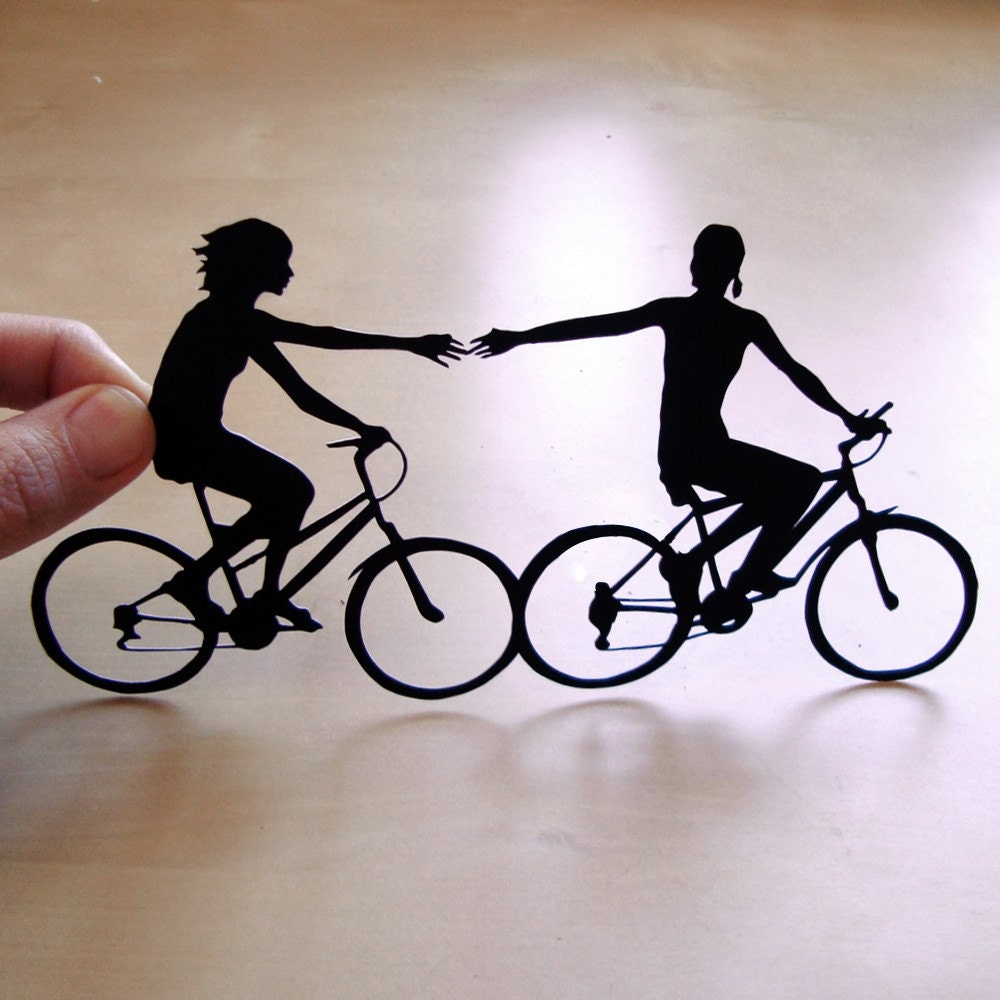 First Anniversary Cut Paper  - Two Women Couple on Bikes- 8x10