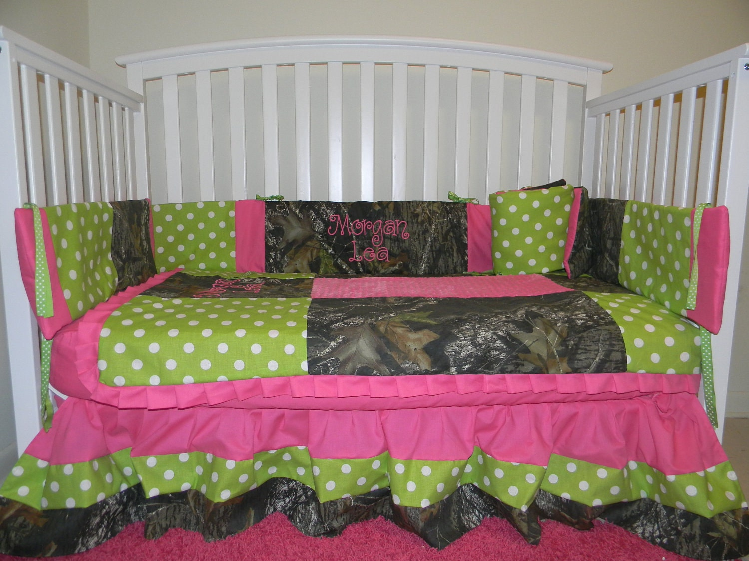 Camo Mossy Oak With Lime Polka Dots And Pink By LIZSSTITCHESdotCOM