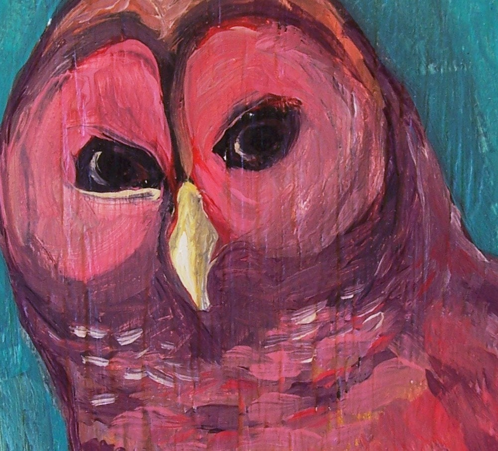 Barred Owl at Sunset... original painting acrylic on recycled wood
