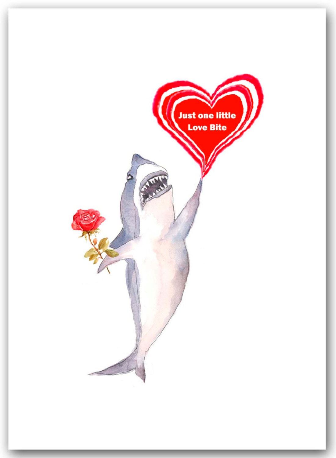 valentines day card shark - Items similar to Valentine shark card Single card shark