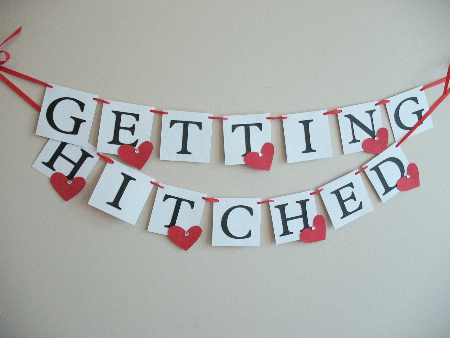 getting hitched engagement wedding banner by iecreations