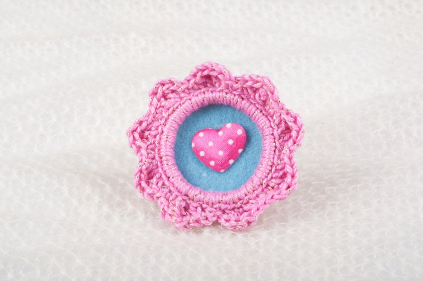 Crochet Brooch - For Fashion Lovers - Pink Crochet, Blue Felt Background, Pink Heart
