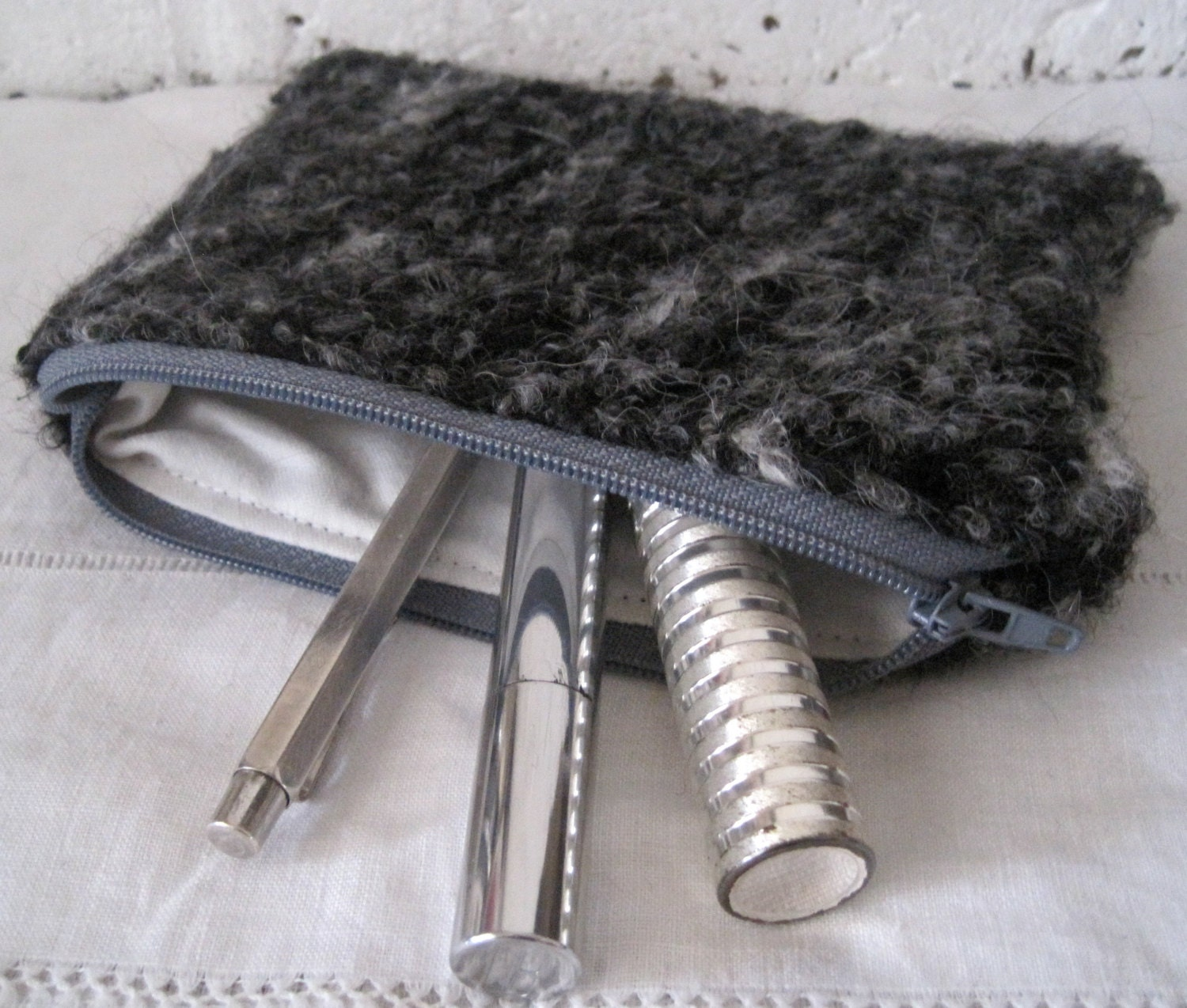 SALE  Handmade Recycled Grey and White Poodle Pouch