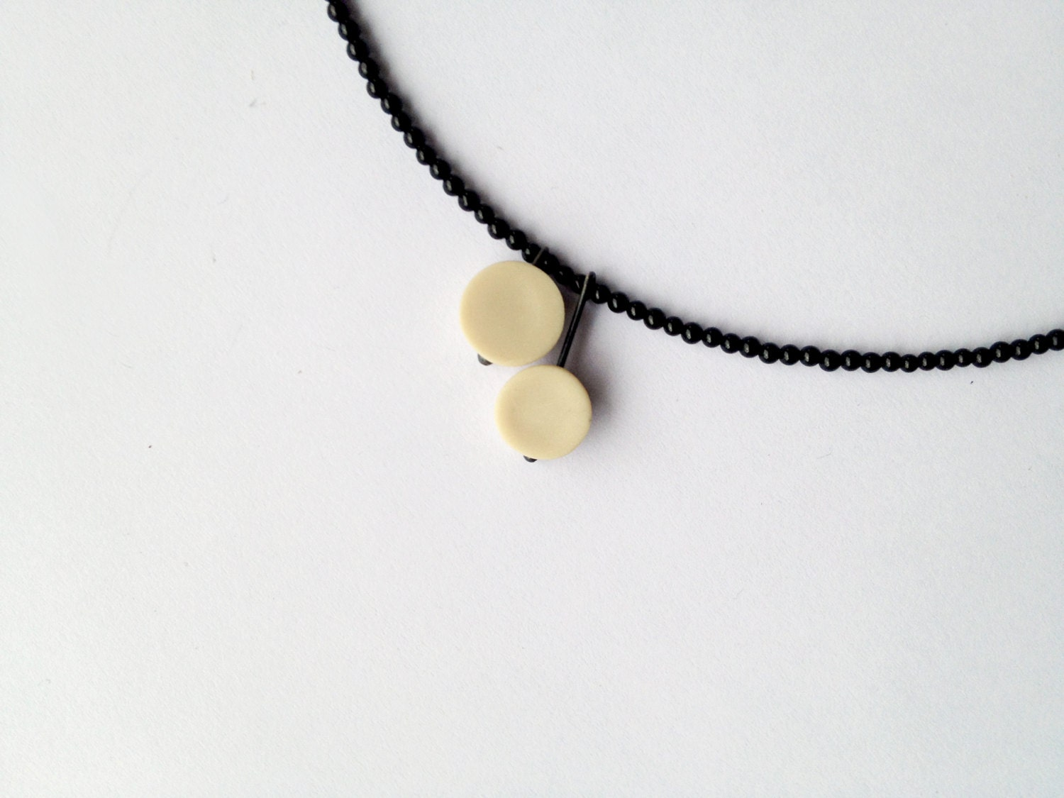contemporary geometrical polymer clay necklace nO. 218 ''two lonely dots between black onyx''