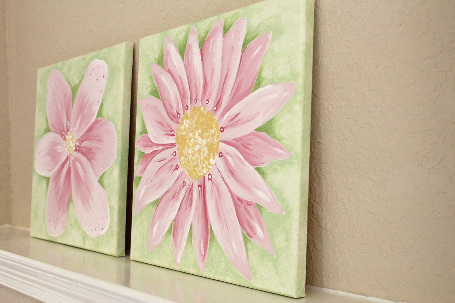 Pretty Flowers, 12x12(set of 2), READY TO SHIP