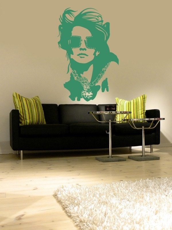 Fashionista Glam Wall Decal Model Silhouette