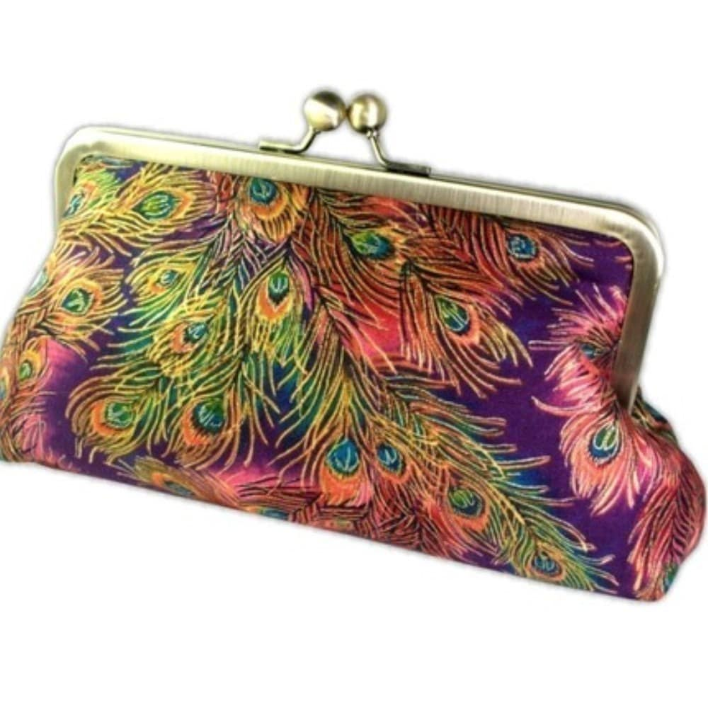 Peacock Feathers Luxury Clutch Bag with Iridescent Silk Lining