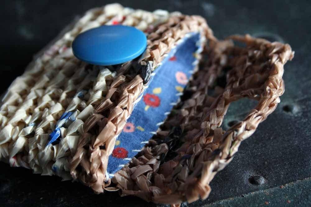 Синяя кнопка Пластиковый мешок бумажника
