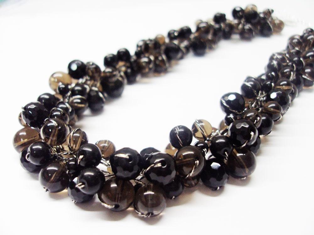Smoky Quartz and Black Onyx Necklace With Silk Thread