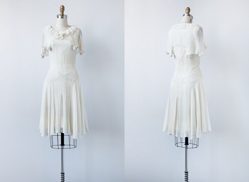 vintage 1920s dress / vintage sheer flapper dress / vintage 20s white dress