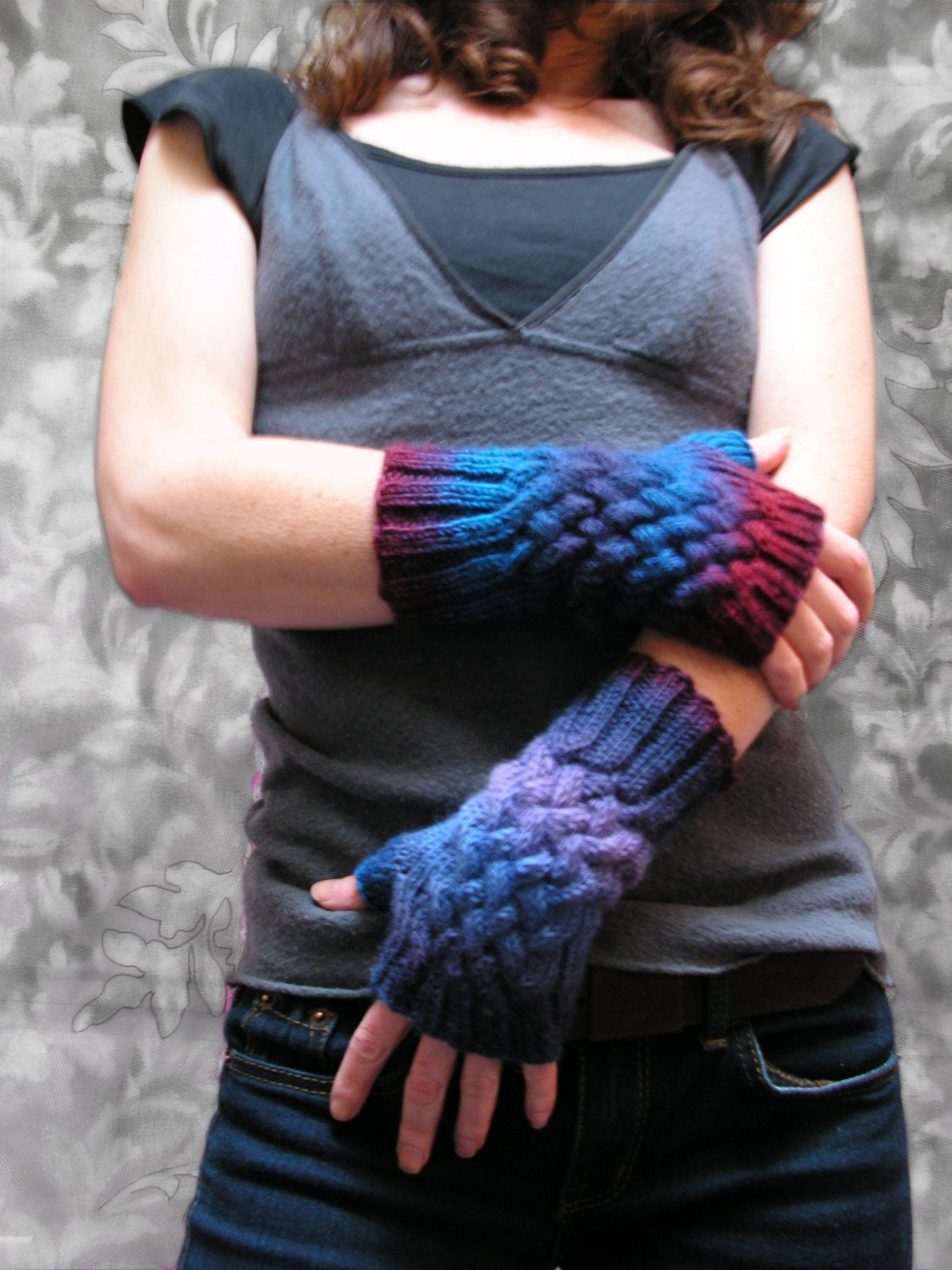 Purple Reign Cabled Fingerless Mitts by jmaccknit on Etsy