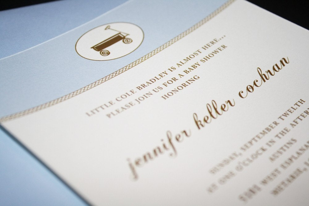Baby Blue and Chocolate Baby Shower Invitation
