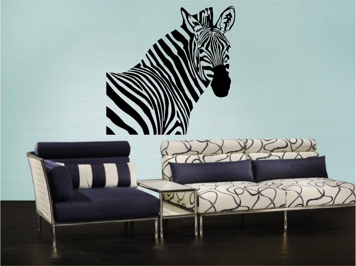 Zebra Head Wall Decor : Zebra head vinyl wall art decal by pasargad on etsy