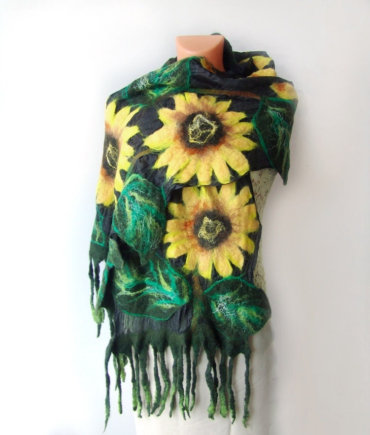 Nuno Felted scarf  long Sunflowers by galafilc on Etsy from etsy.com