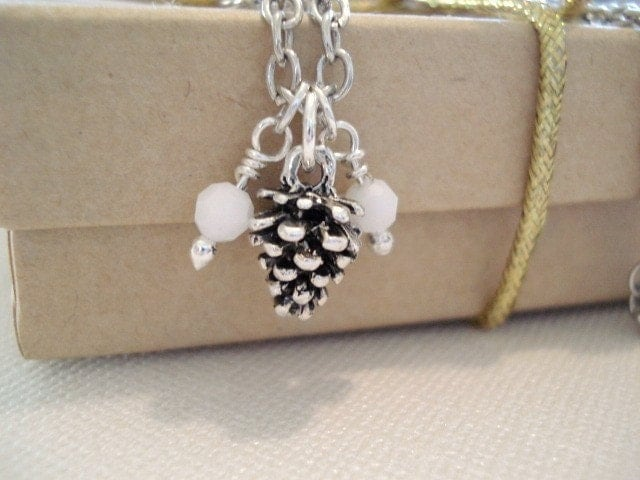 Little tiny Pinecone - Silver plated Pine Cone with White Alabaster Beads