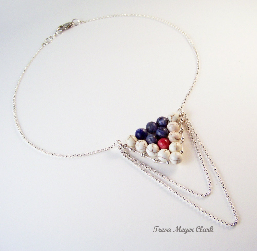 Nautical Necklace with Red White & Blue Beads Flag and Silver Chain - MeyerClarkCreative