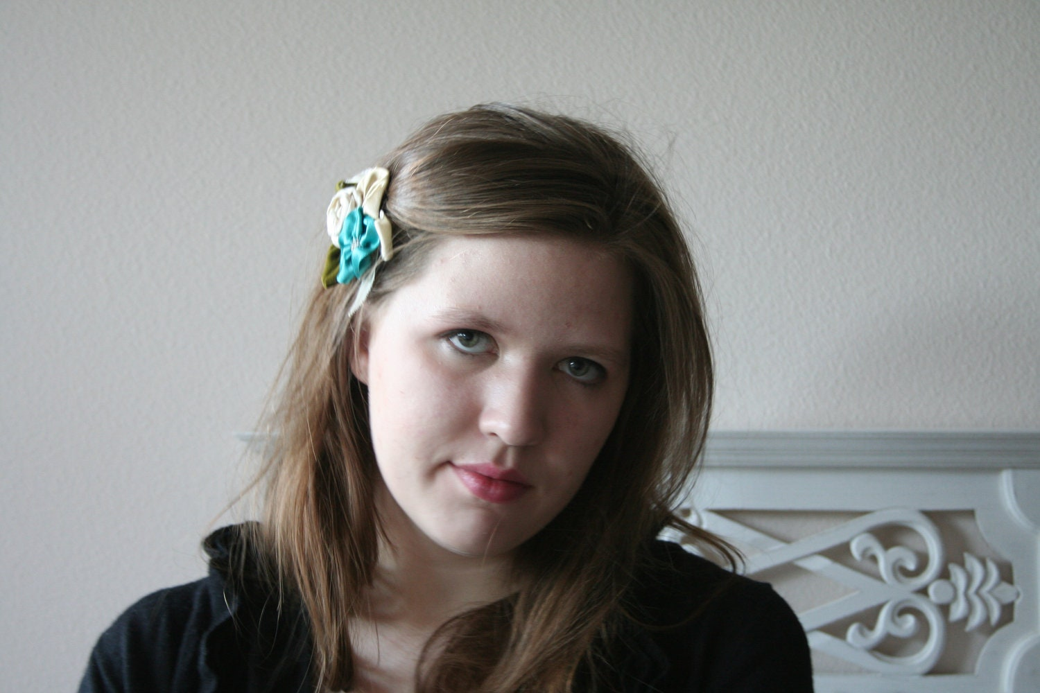 Flower hair clip // Ivory Yellow and Teal Hand Made Flowers with Velvet Leaves on a Metal Clip // Beaded Flower Hair Piece