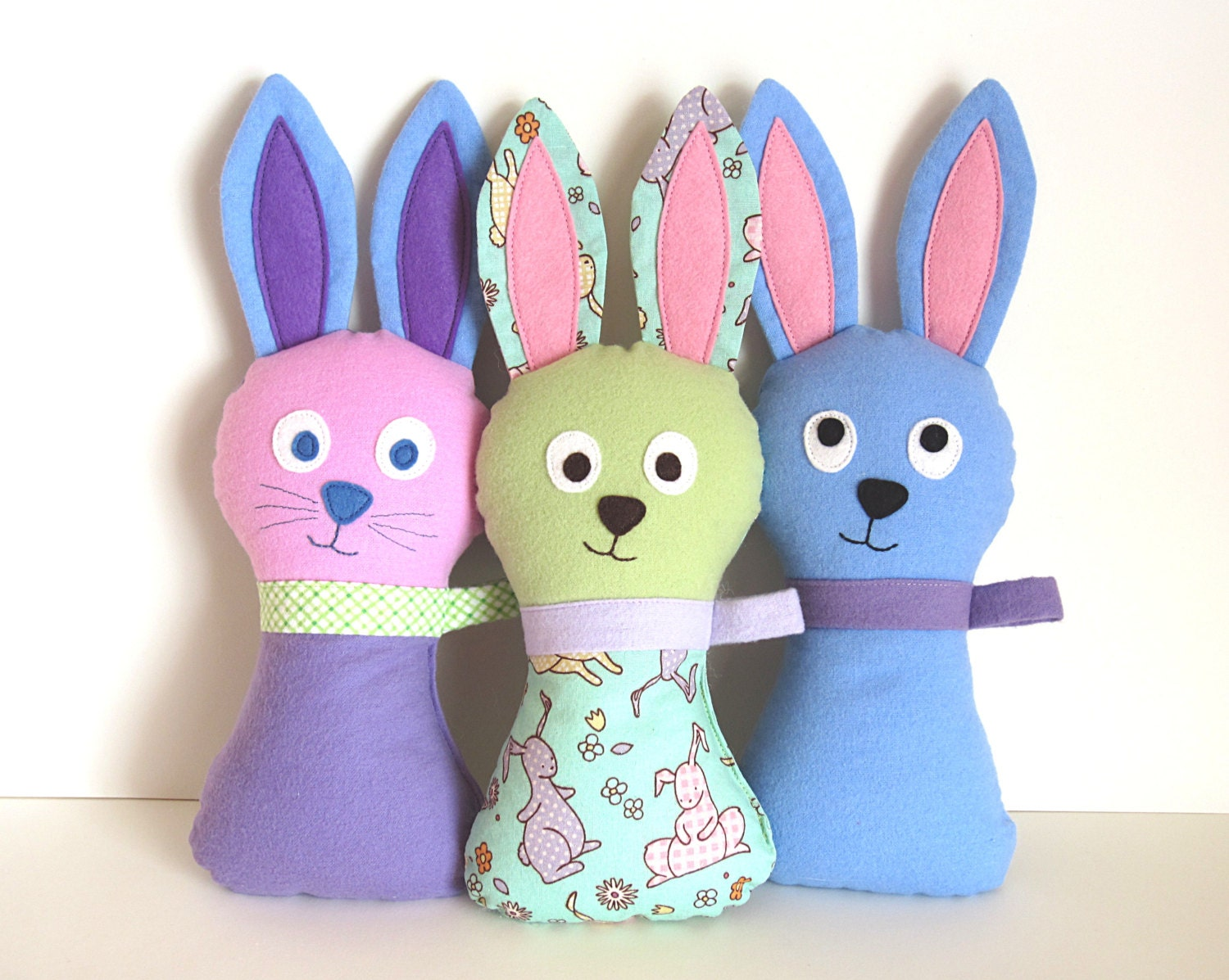 Stuffed Bunny Pattern - Hoppy Loppy PDF Sewing Pattern - Soft Toy Baby Plush DIY Easter Bunny for Springtime Peek-a-Boo Instant Download - MyFunnyBuddy