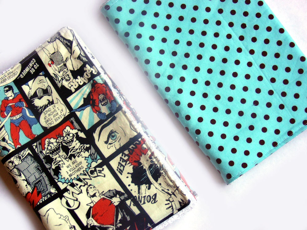 Superheroes and spots burp cloths set of 2