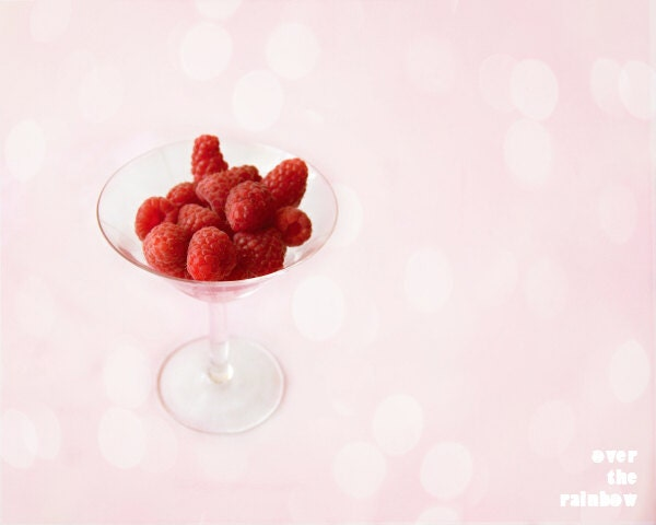 Raspberry photograph, Kitchen art, Food photography, red, bokeh, raspberries in wine glass, 10x8, Giclée  - titled: Raspberry Wine - OverTheRainbowPrints