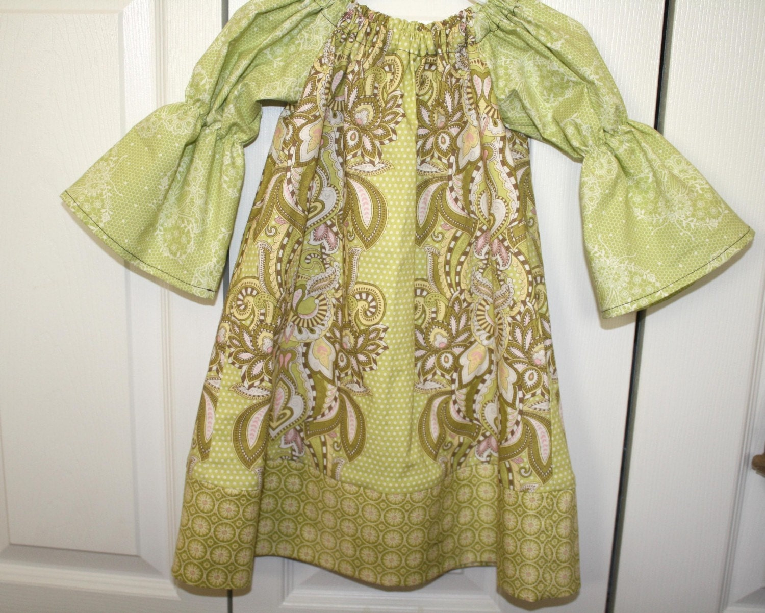 SALE Peasant Dress Pink Green Olive  Tula Pink Hushabye Size  3T READY TO SHIP  ... BlakeandBailey
