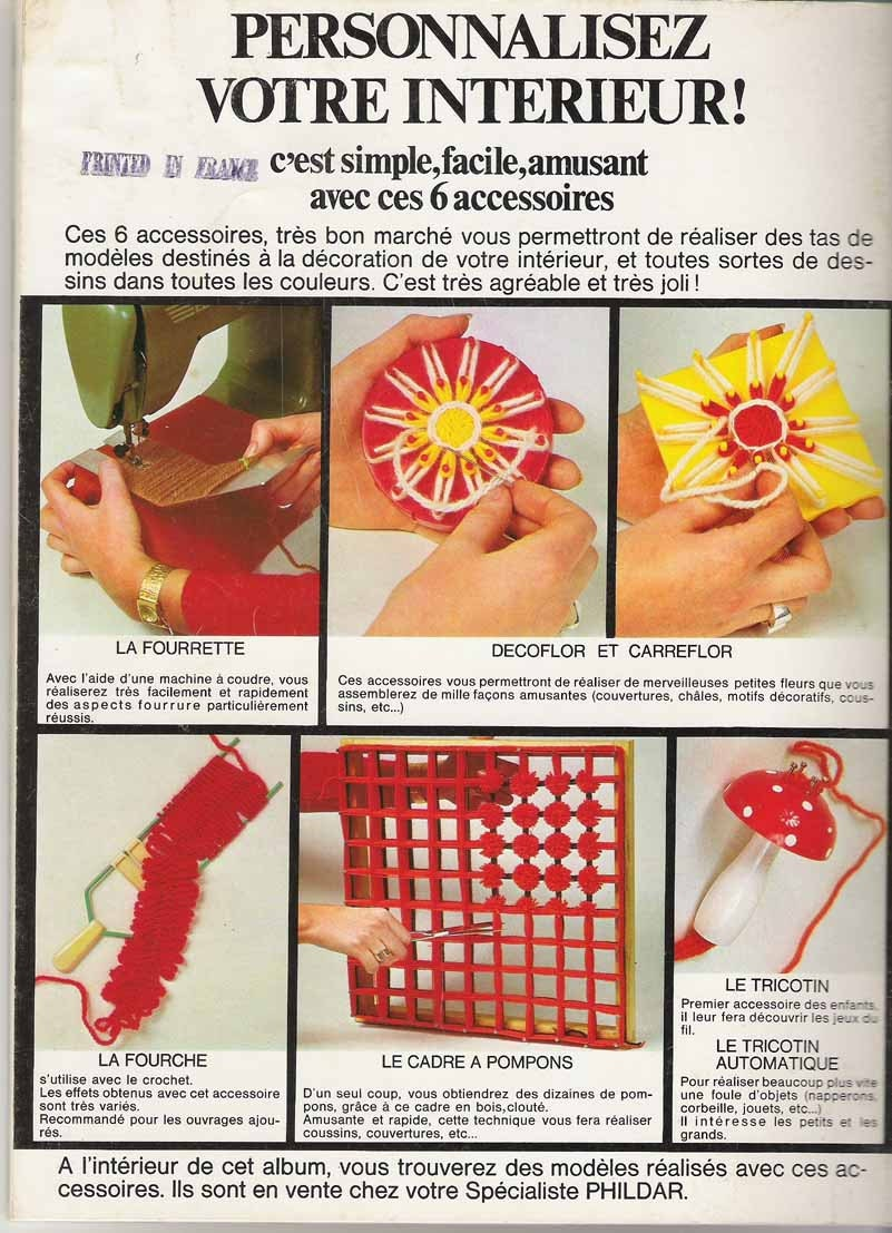 1974 French Crafts & Knitting Magazine - Phildar Décoration et Loisirs