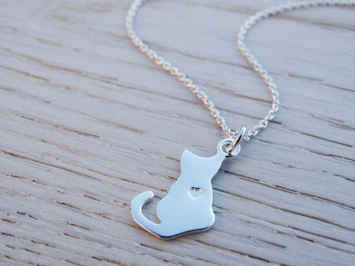 Silver Cat Necklace  Heart  Sterling Silver