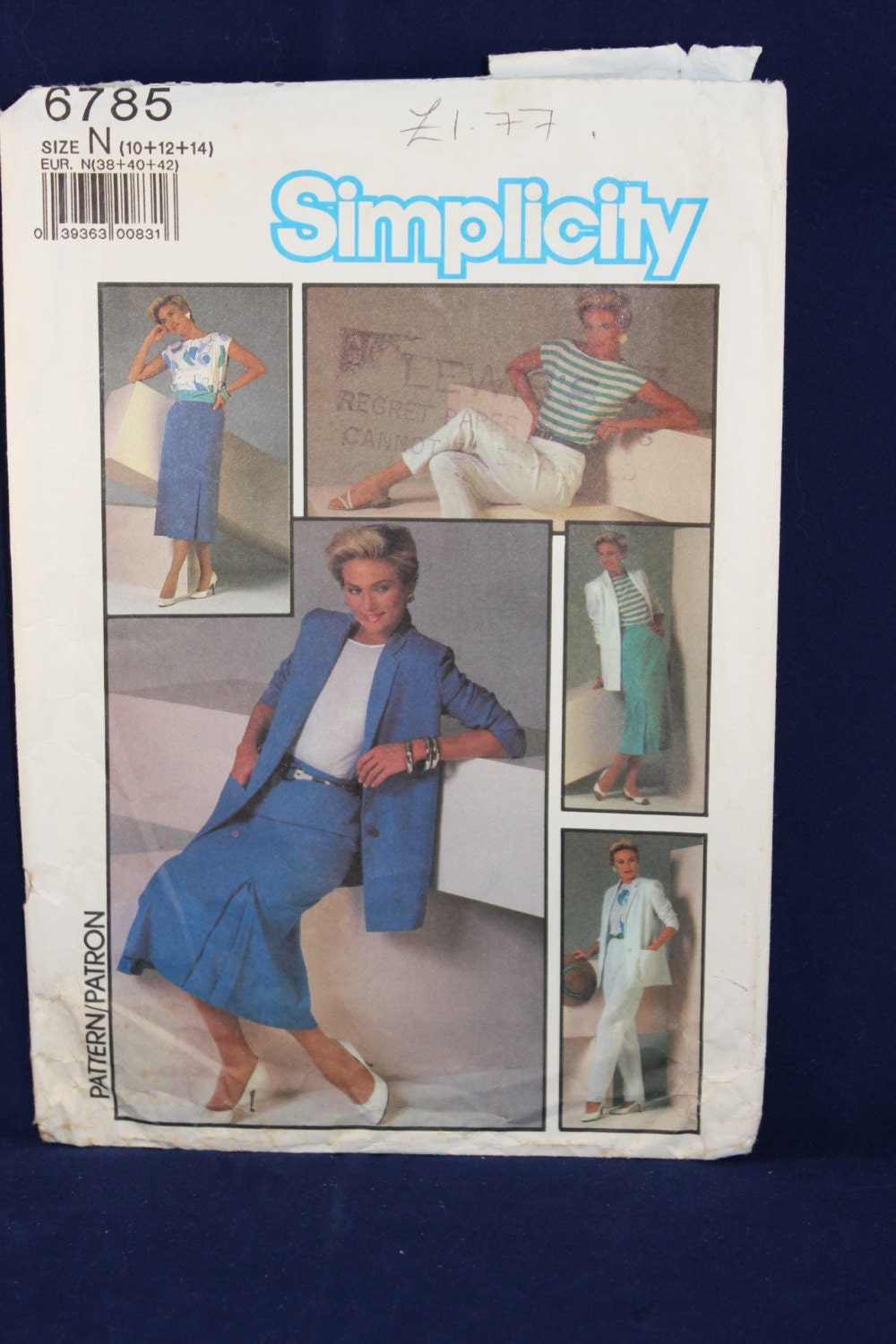 Vintage Sewing Pattern Simplicity 6785 for a Womans Jacket Top Skirt and Trousers in Sizes 101214