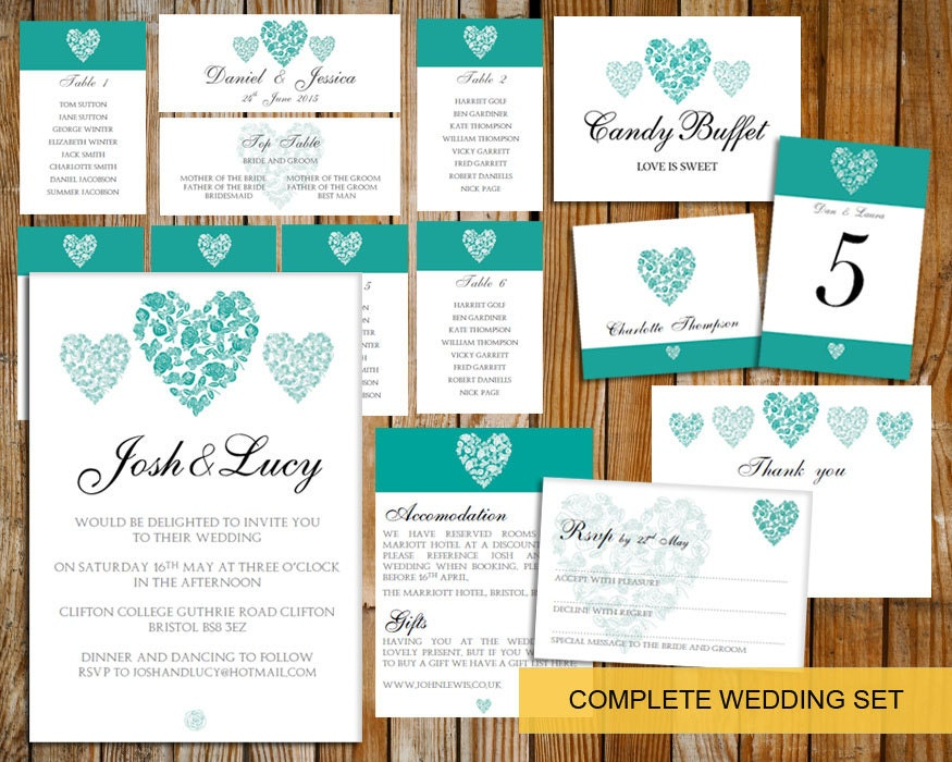 Complete Wedding template set (trio of  hearts)  DOWNLOAD PRINTABLE Microsoft word DIY wedding invite teal heart wedding set invite set