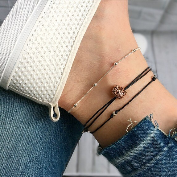 Elephant anklet ankle bracelet silver anklet gold anklet rose gold anklet. Perfect elephant gift good luck charm or good luck gift.