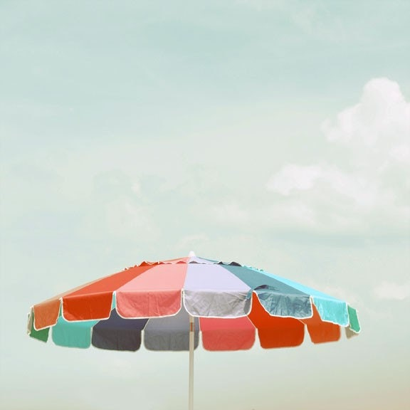 Beach Umbrella Photograph - 8x8 summer decor print - modern art print cool blue red beach house art - alicebgardens