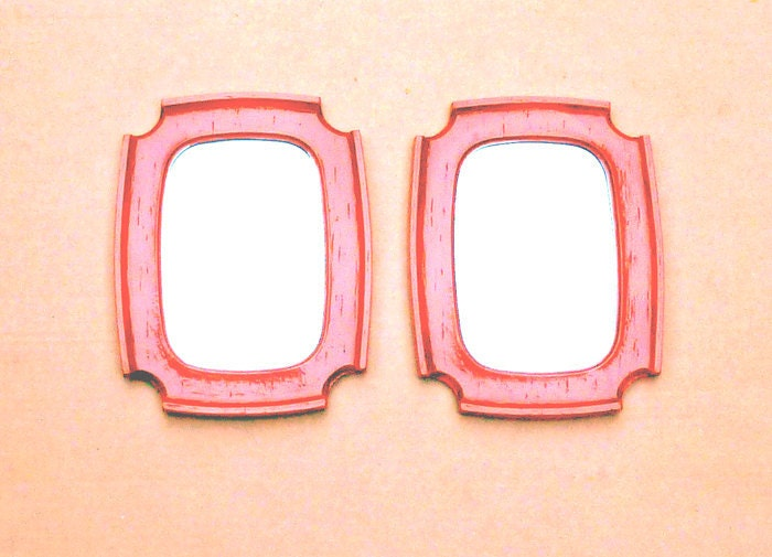 Vintage Syroco Chinoiserie Red Lacquer MIRRORS (the pair)  Shabby Chic Wall  Mirror Set . . . 7 x 9 inches