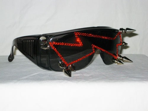 Studded Bolted N Stoned - Red Rhinestone Lightning Bolt Glasses With Spikes