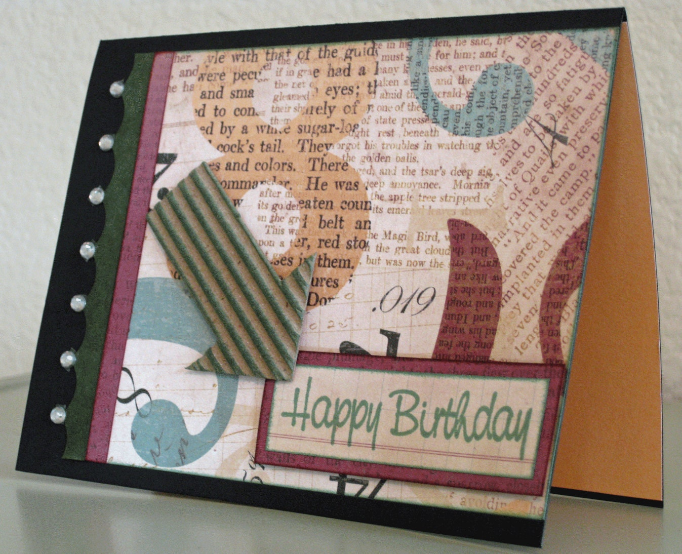 Etsygreetings handmade cards happy birthday card sells for 300 click on the image to be taken to the shop a great card for the guys in your life the card features typographical and newspaper bookmarktalkfo Choice Image