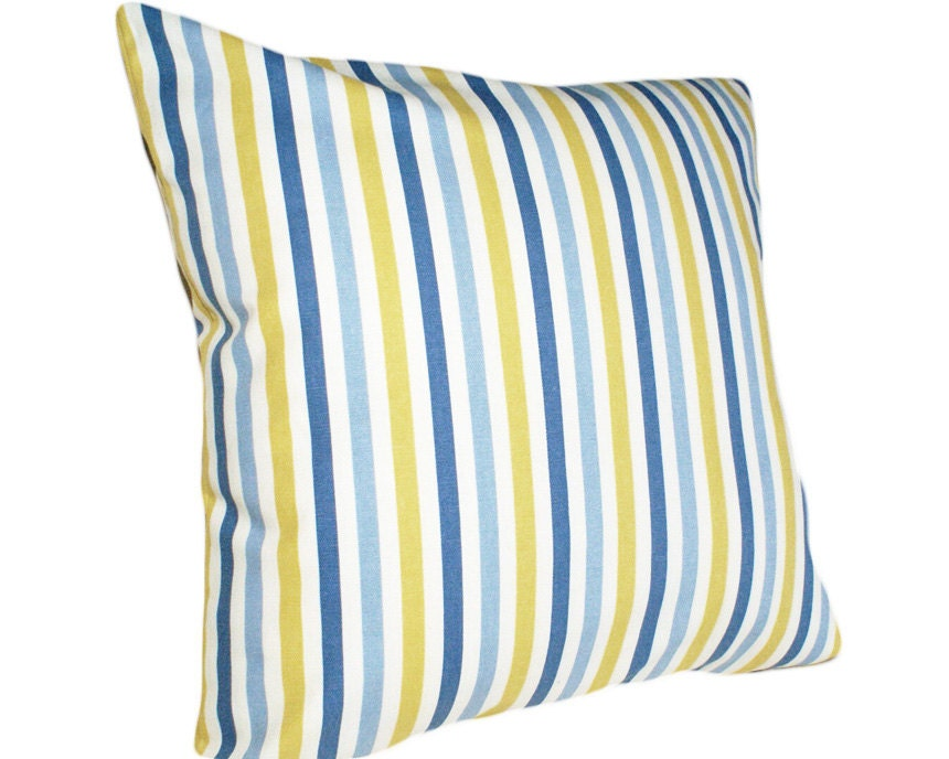 Blue Striped Decorative Pillows : Blue and Yellow Striped Pillows Decorative by PillowThrowDecor