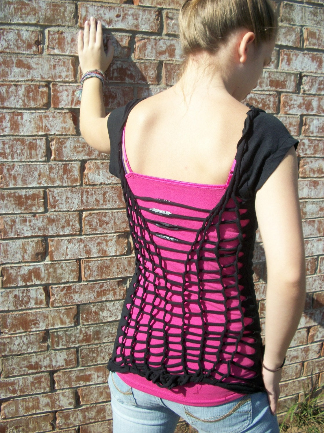 Netted back t-shirt