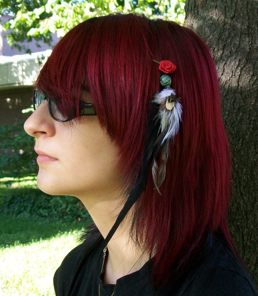 Red Rose Feathered Hair Extension Barrette