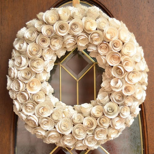 Book Page Rosette Wreath - Unique Upcycled Teacher, Birthday or Anniversary Gift - Shabby Chic Eco Friendly Green Home Decor