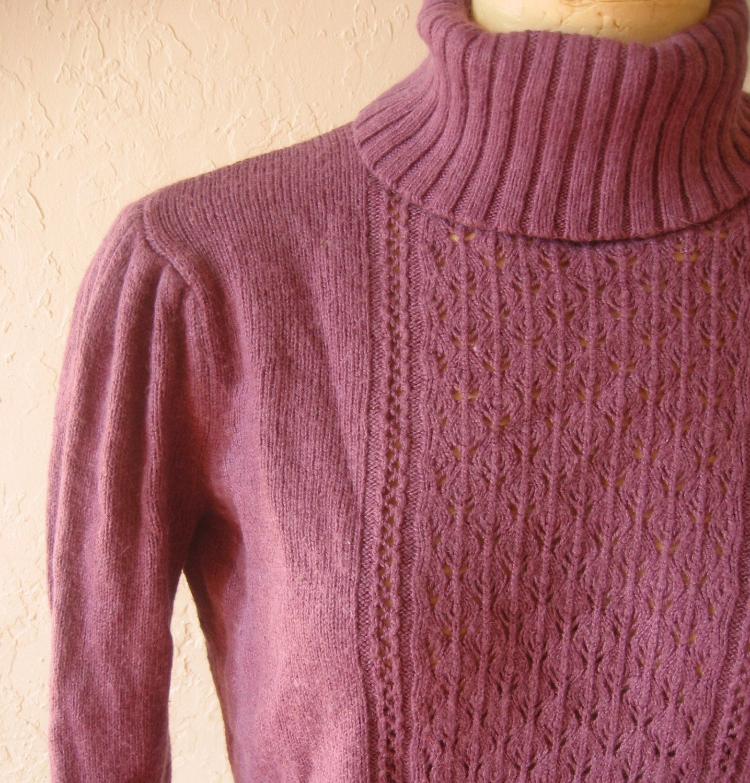 Vintage Lavender Puff Sleeve Turtleneck Sweater