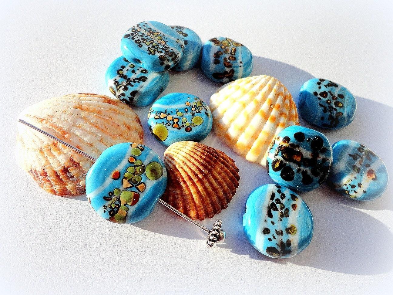 Lampwork Beads, Lampwork Lentil Beads, 20 x 18 mm Lampwork Beads, 4 pcs. - KristinesBeads