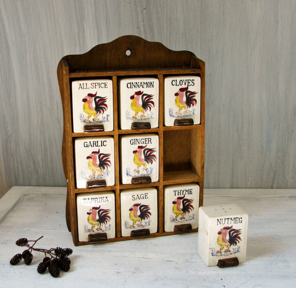 Vintage Spice Rack Wood Cabinet Ceramic Spice Jars By