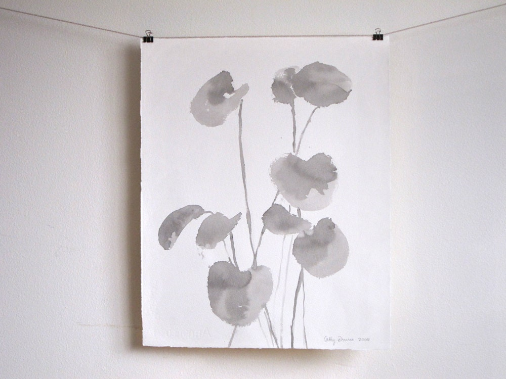 SALE - Drawing From Nature - Minimalist Gray Ink Wash Drawing - 18 x 15 inches - cathydursoart