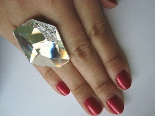 GIANT Futuristic Swarovski Crystal Cocktail Ring - fierce style huge kitsch camp