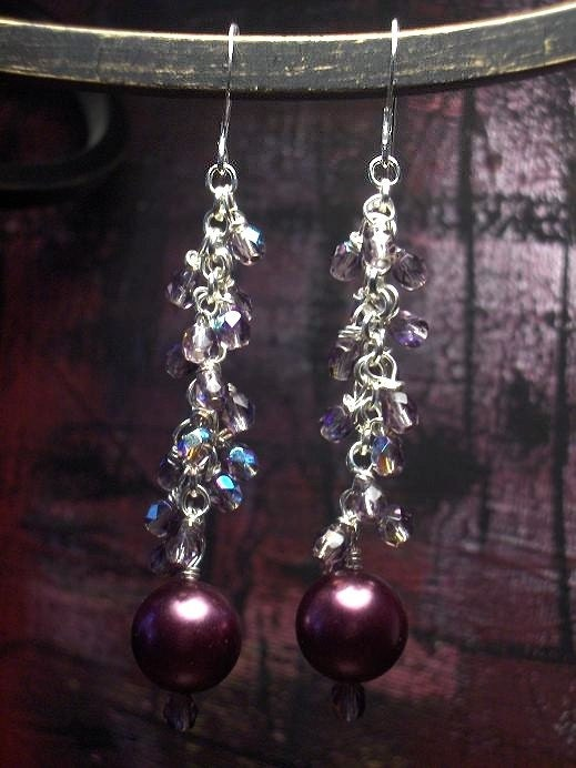 Sparkling Merlot Pearl and Crystal Dangle Earrings