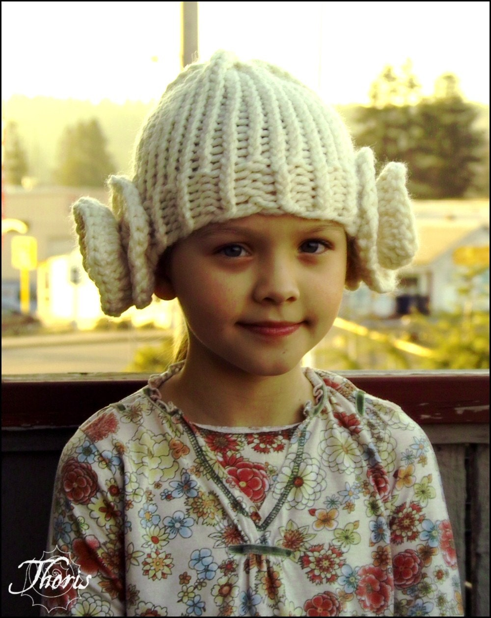 Leia Princess Buns Beanie Hat in Cream by Thoris Designs on Etsy
